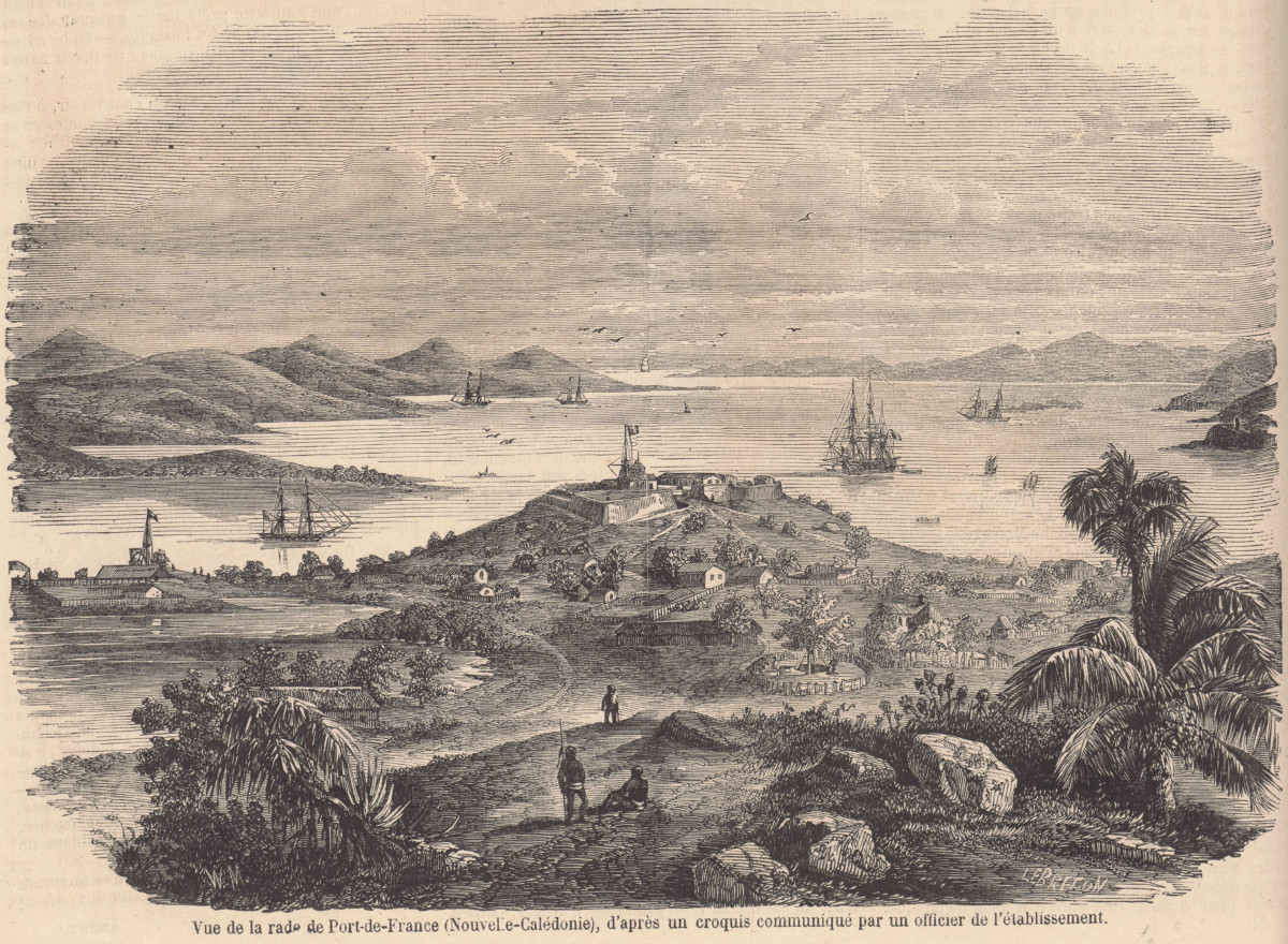 View of the harbour of Port-de-France in Nouméa in 1857