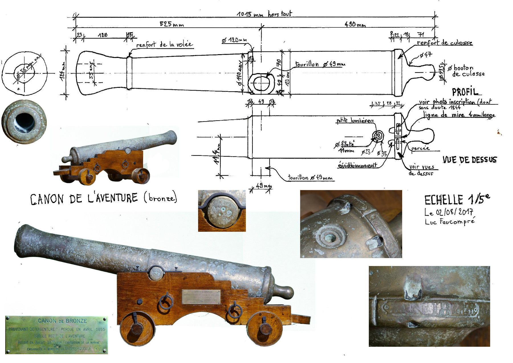 Drawing and dimensions of the canon taken by Luc Faucompré of Fortunes de Mer Calédoniennes