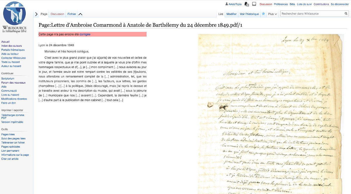 Un début de transcription sur WikiSource / CC BY WikiSource