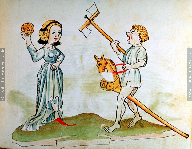 Children playing from a book of heraldry, showing a ball, some mechanical toy and a hobby horse